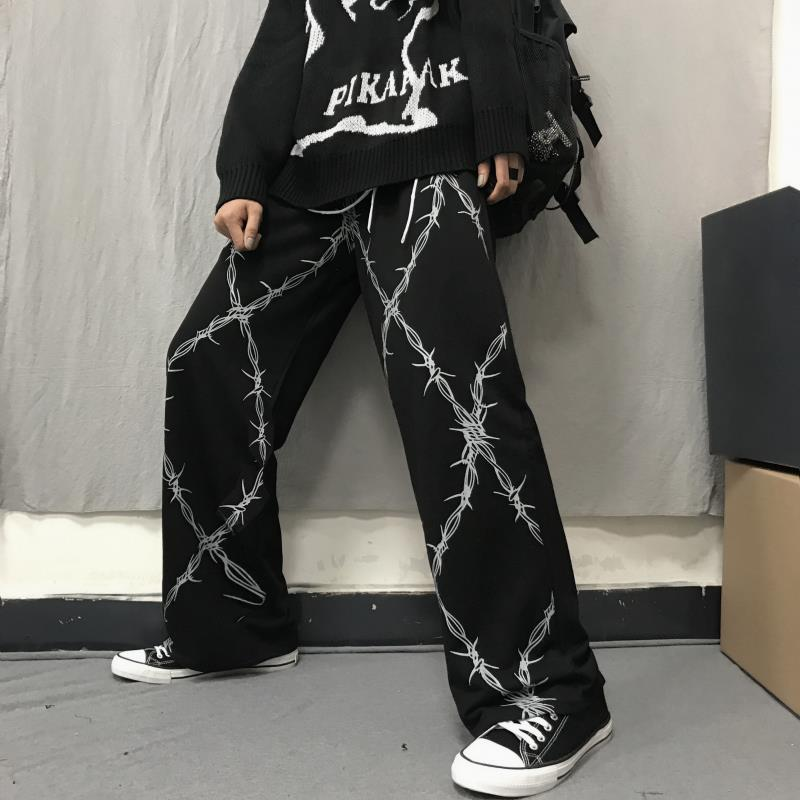 NiceMix 2020 Vintage Women Pants Print High Waist Straight Wide Leg Trousers Casual Loose Korean Fashion New Streetwear Unisex