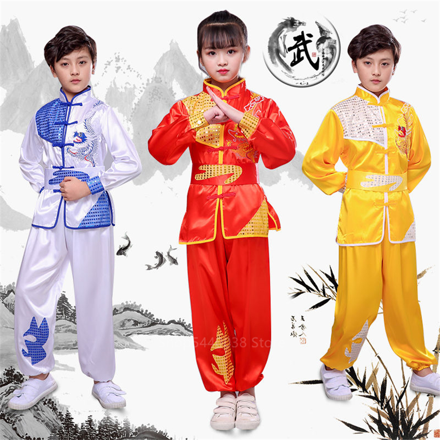Traditional Chinese Wushu Clothing Tai Chi Uniform Kids Kungfu Outfits New Year Stage Performance Hanfu Top+pant+bet Costumes