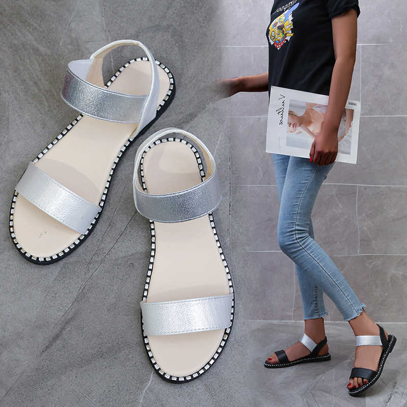 2020 รองเท้าแตะชายหาดแบนผู้หญิงรองเท้าแตะโรมัน PU หนังฤดูร้อนสุภาพสตรีรองเท้าแตะสบายๆฤดูร้อนรองเท้า Patchwork ผู้หญิงวัว