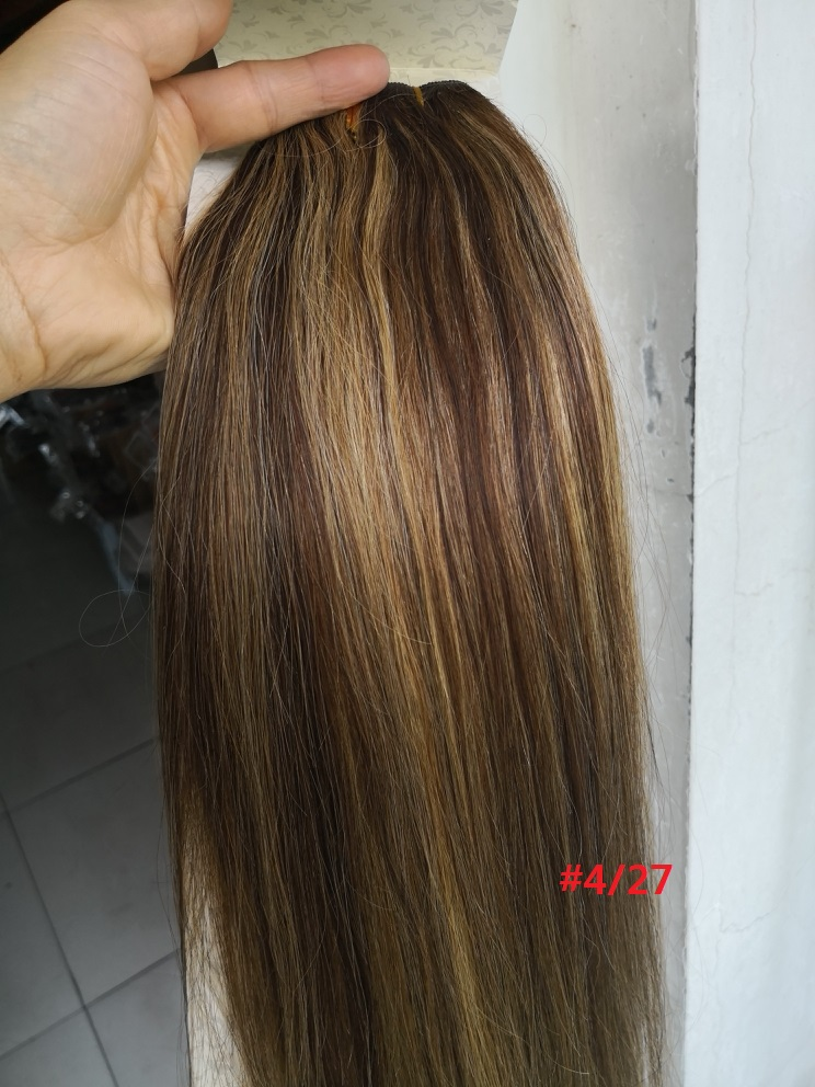 Chocola, бразильские волосы remy на всю голову, 10 шт. в наборе, 280 г, 16-28 дюймов, натуральные прямые человеческие волосы для наращивания на заколках - Цвет: # P4/27