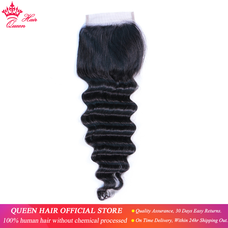 Brazilian Loose Deep Wave Closure Free/Middle Part Human Hair 4x4 Lace Closure Swiss Lace Remy Hair Queen Hair Official Store