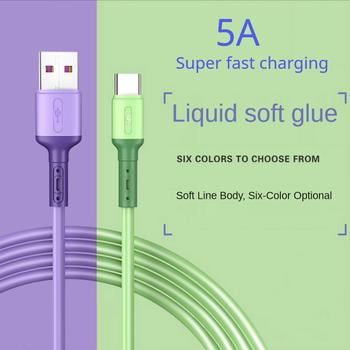 Kabel USB typu C 5A płynny silikon szybkie ładowanie kabel Micro USB do Samsung Xiaomi HTC Huawei ładowarka kabel danych telefon komórkowy tanie i dobre opinie OLOEY TYPE-C CN (pochodzenie) Ze wskaźnikiem LED
