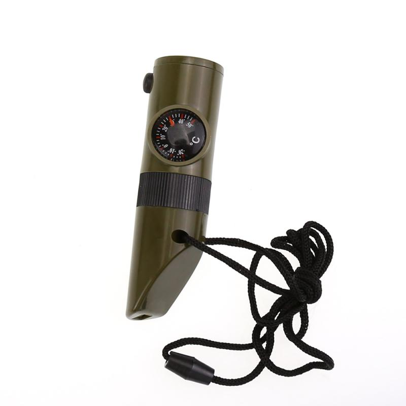2020 Hot Versatile And Practical 7-in-1 Camping Survival Whistle Compass Thermometer LED Flash Camping Hunting Hiking