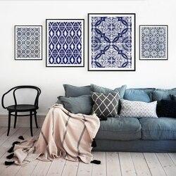 Fas duvar sanatı tuval yağlıboya resimleri mavi arapça desen fayans posterler ve baskılar portekiz sanat dekorasyon ev dekor