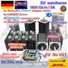 """האיחוד האירופי משלוח מע""""מ 4 ציר NEMA34 מנוע צעד הכפול פיר 1600oz in 12N. m CNC בקר ערכת גדול גודל CNC נתב מכונת כרסום"""