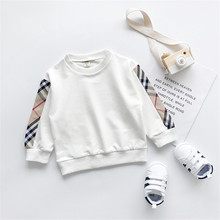 цена на Kids Clothes 2019 Autumn Girls Sweatshirt Loose White Pullover Shirt Tops College Style Splice Boys Sweatshirt Children Clothing