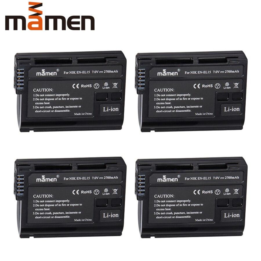 Mamen 4pcs EN-EL15 ENEL15 EN EL15 Rechargeable Digital Battery For Nikon D500 D600 D610 D750 D7000 D7100 D7200 D800 D850 D810