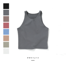 Woman summer sleeveless tank top cropped