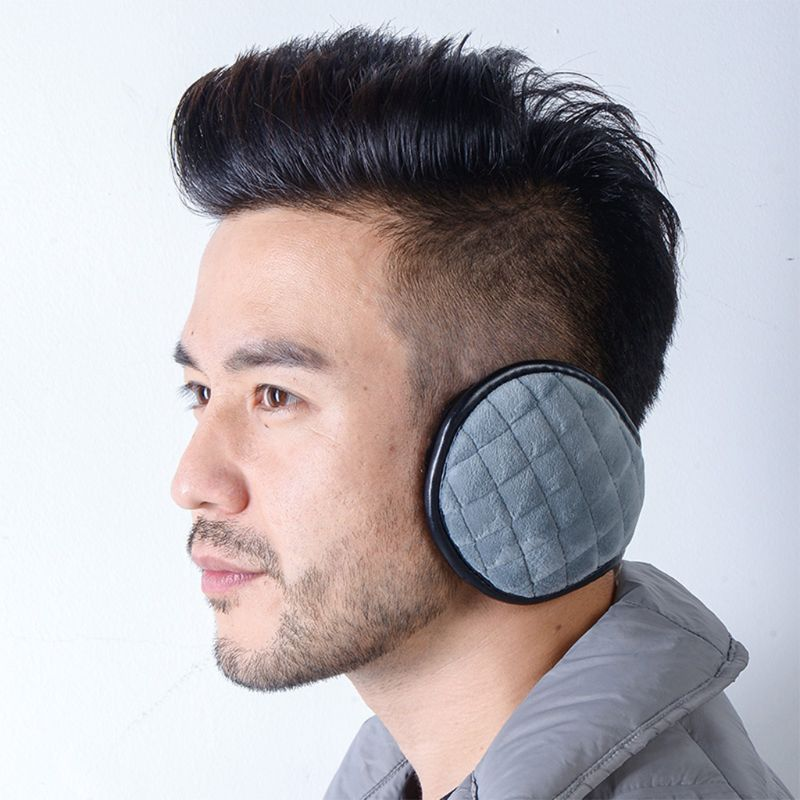 Men Women Winter Thicken Plush Windproof Knit Plaid Texture Foldable Earmuffs DXAA