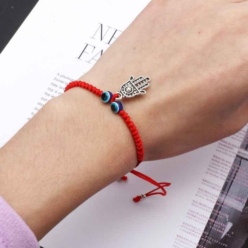 ตุรกี Evil Eye Protection Kabbalah Red String สร้อยข้อมือ Fatima Hand เครื่องประดับ 634C