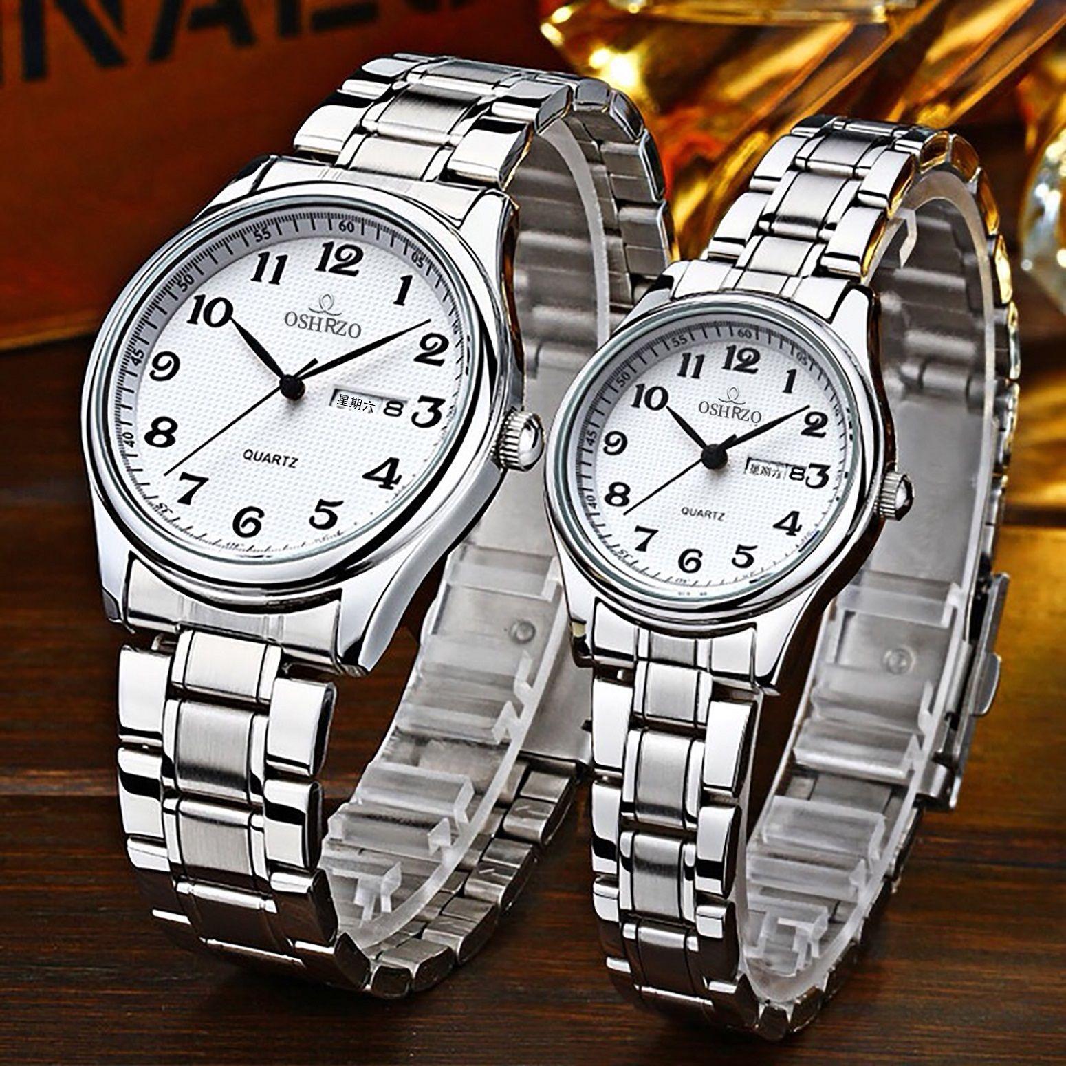 Dual Calendar Couple Watch Full Stainless Steel Preservative Men Wrist Watches Business Lovers Women Japan Quartz Clock B3293