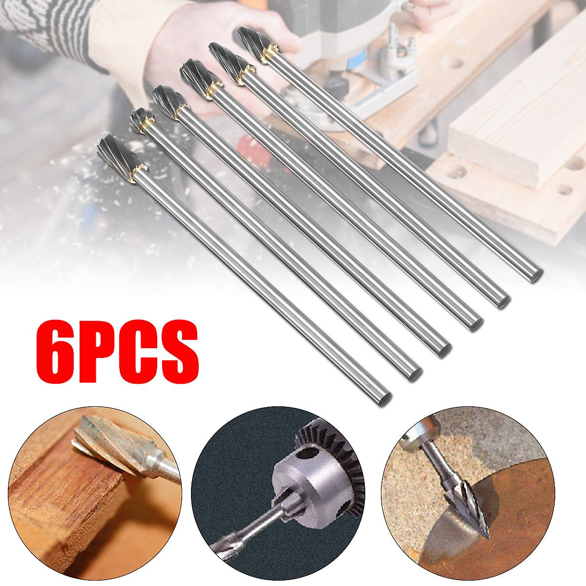 6Pcs High Quality Efficiency 150mm Long 6 X 10mm Tungsten Carbide ALUMINUM CUT Rotary Burr Burs 6mm Shaft Power Tools Drill Bit