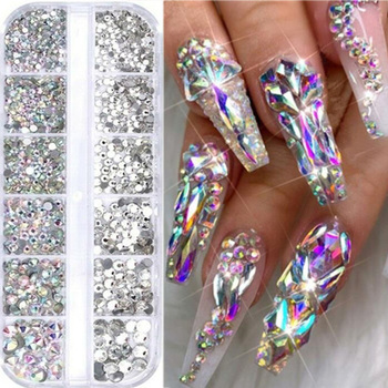 12 Grids Rhinestones Nail Art Decorations Flat-back AB Colors Crystals 3D DIY Tips Shiny Nail Gems Mixed Size Acrylic Stone Beauty & Health