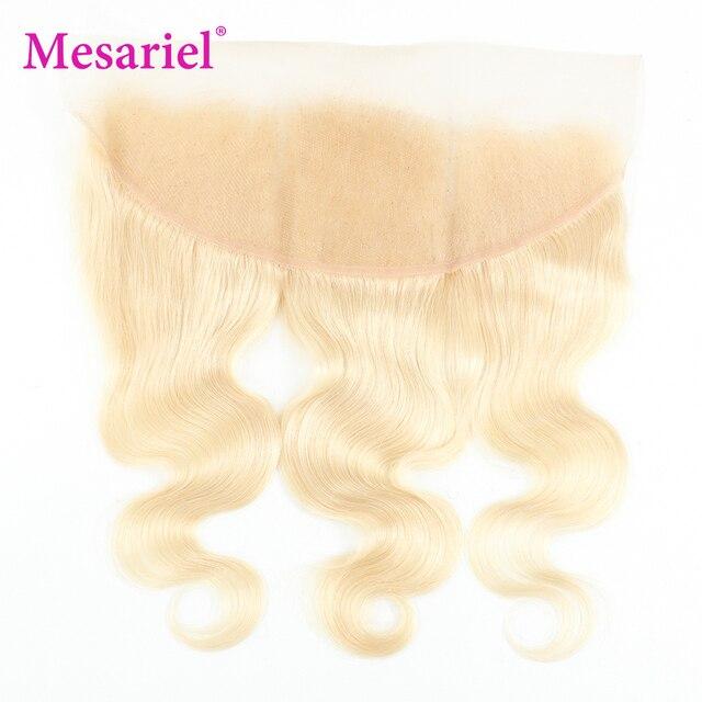 Pelo ondulado peruano Mesariel, mechones Rubio 613 con cierre Frontal, extensiones de cabello ondulado Remy Rubio de 10-28 pulgadas