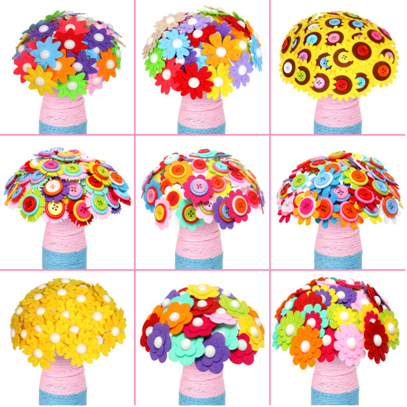 40pcs Creative Button-made Flower For Children Kids DIY Handcraft Flower Bouquet Development Button Flower Craft Toy Wholesale