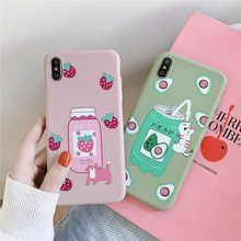 Cute Cat Soft Case iPhone 6/6 S/6 P/6 Plus/7/8/ 7 P/8 P/X/X/Xsmax/XR Kartun Strawberry Milk Phonecase(China)