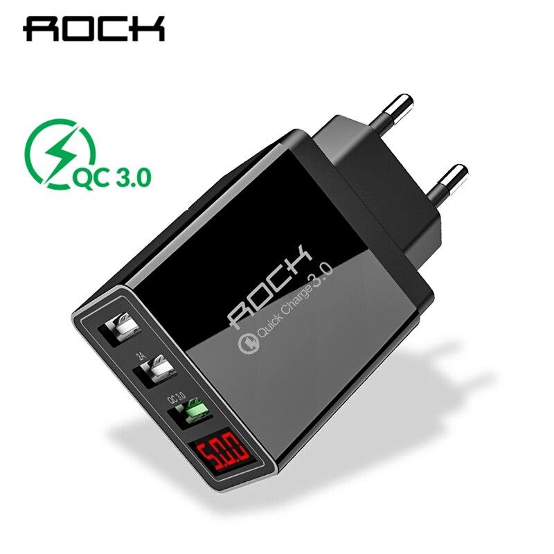 Chargeur de téléphone 3.0 chargeur de téléphone USB 30W QC3.0 affichage de lumière LED QC Turbo Charge rapide pour iPhone Xiao mi 9 Huawei P30 Pro