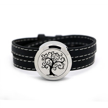 BOFEE Screw Locket Leather Aromatherapy Diffuser Bracelet Tree Of Life Essential Oil Chain Stainless Steel Jewelry 25mm