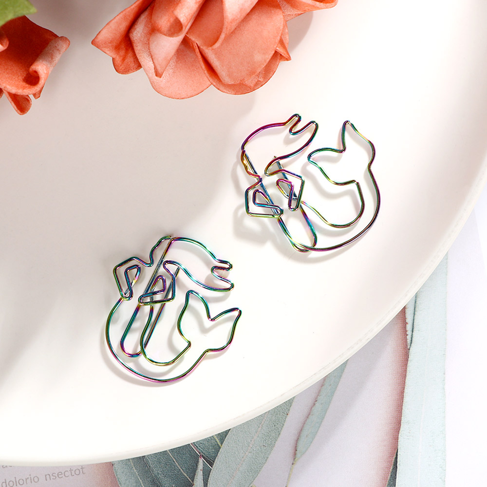 2Pcs/lot Colorful Rainbow Mermaid Paperclips Electroplating Metal Paper Clips Photo Clip Paper Clips Decorative Stationary