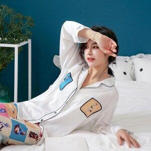 Image 4 - קרח משי פיג מה אישה מתוק יפה לחקות אמיתי משי הלבשת ארוך שרוול מכנסיים צמד סריגי פיג