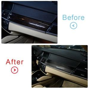Image 5 - Carbon Schwarz Auto Dashboard Panel Abdeckung Aufkleber Fit für BMW X5 X6 E70 E71 2008 2009 2010 2011 2012 2013 links Hand Stick