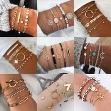 Bracelets à pampilles en or bohème pour femmes, bijoux Boho, feuilles géométriques, perles, chaîne à main superposée, ensemble de Bracelets à breloques