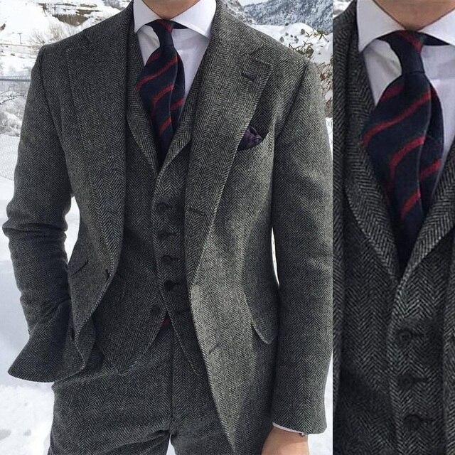 Vintage chevrons hommes costumes pour mariage formel affaires marié smoking 3 pièces Tweed coupe ajustée vêtements de marié (veste + gilet + pantalon)