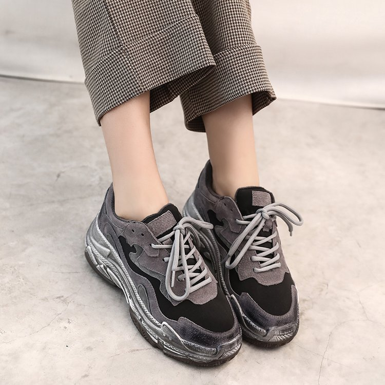 Black Gray Suede Retro Platform Chunky Sneakers Women 2019 Autumn Winter Fashion Vulcanized Shoes Trainers Women Shoes