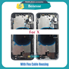 Full Housing for Iphone X XR Battery Back Cover Door Rear Case Middle Frame Chassis + Back Glass with Flex Cable Parts Assembly