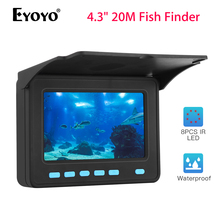 Eyoyo рыболовная камера 20 м кабель 4,3 дюймов ЖК-экран 8 шт. светодиодный подводный рыболокатор регулируемый светильник 10000 мАч батарея для подледной рыбалки