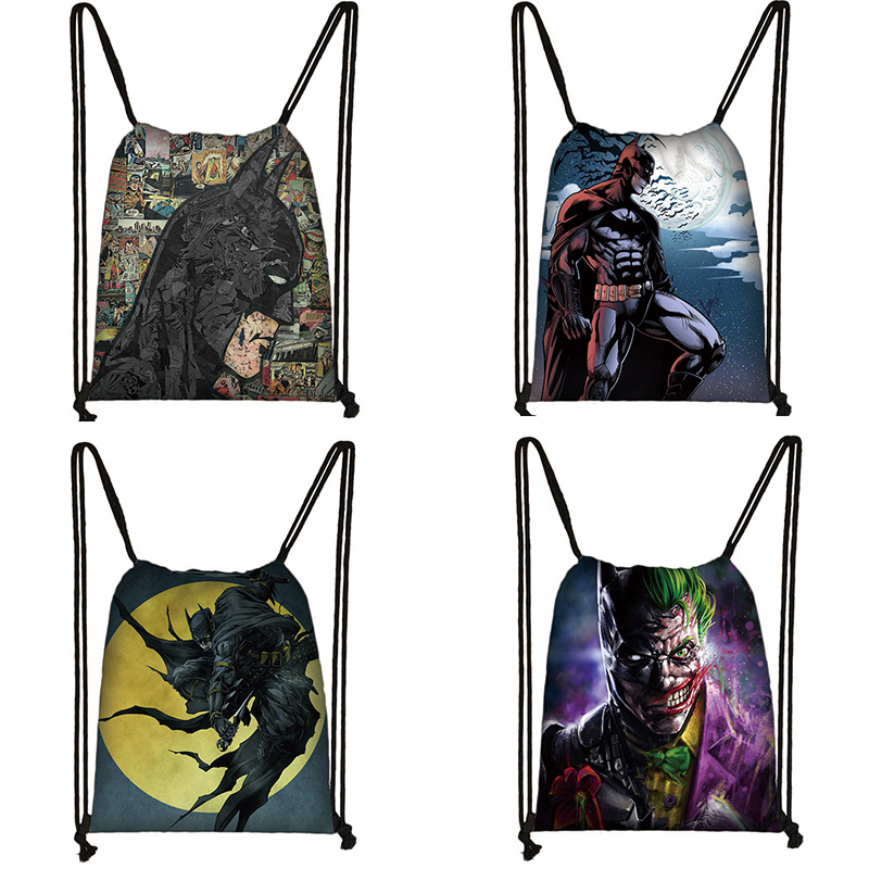 Batman Print Drawstring Bag Women Travel Bag Teenager School Bag Brown Girl And Boy Backpack Fashion Female Storage Bags T091111