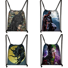 Batman Print Drawstring Bag Women Travel Bag Teenager School