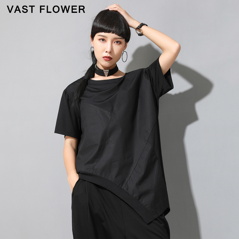 Irregular Patchwork Black Plus Size T-Shirt Women New Summer Short Sleeve Loose Casual T Shirt Tops Clothes Fashion Tide 2021