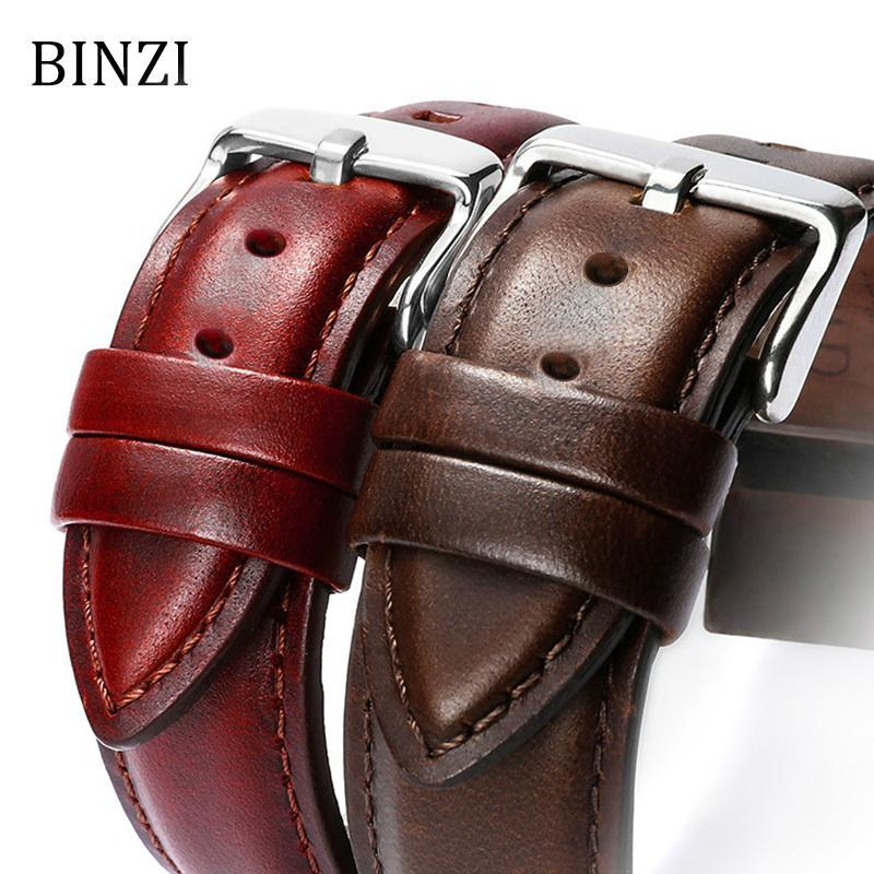BINZI Leather Watch Band 22mm 20mm 18mm Width 16mm 14mm Men Women Watchband Clock Strap For Luxury Casual Watch Bracelet Belt