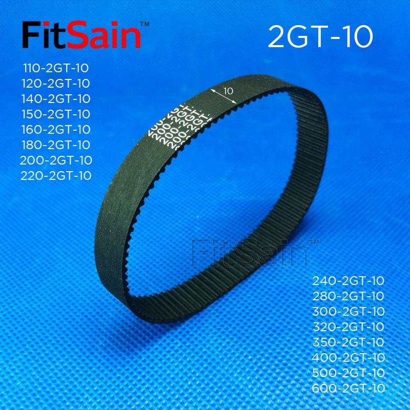 FitSain--2GT Bandwidth 10mm Timing Belt Rubber Belt GT2 Synchronous Wheel circumference 110-600mm ring