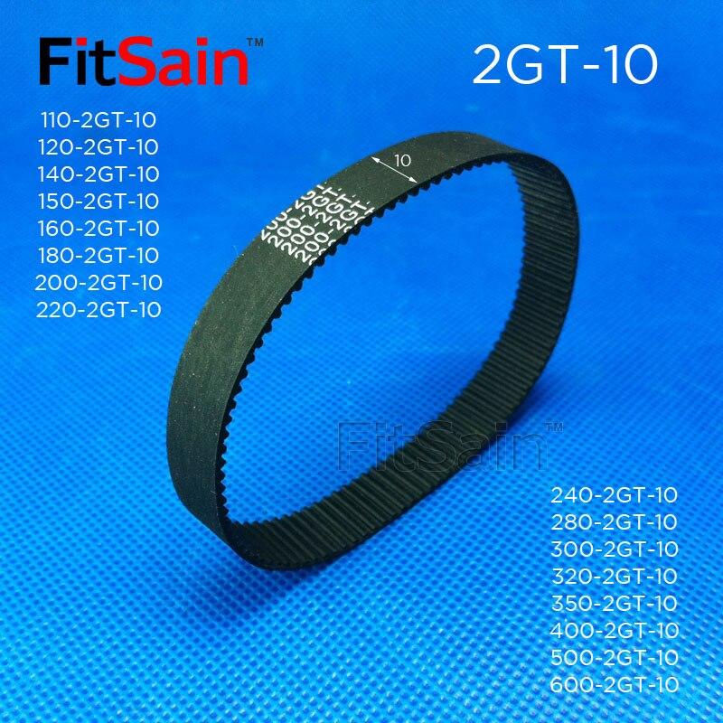 FitSain--2GT Width 10mm Timing Belt Rubber Belt GT2 Synchronous Wheel circumference 110-600mm ring