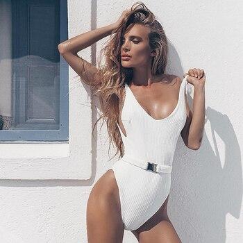 Sexy Weiß Badeanzug Frauen Push Up Strand Badeanzüge Monokini 1