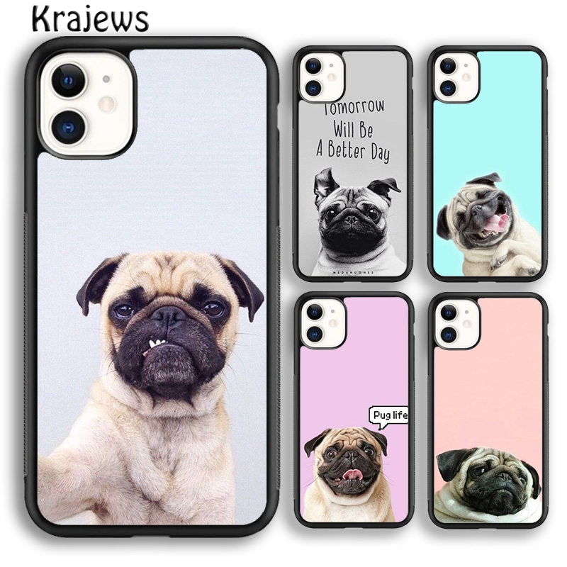 Krajews CUTE PUPPY PUG DOG MOPS Soft Phone Case Cover For iPhone 5s 6s 7 8 plus X XR XS 11 pro max Samsung Galaxy S8 S9 S10 Plus|Fitted Cases|   - AliExpress