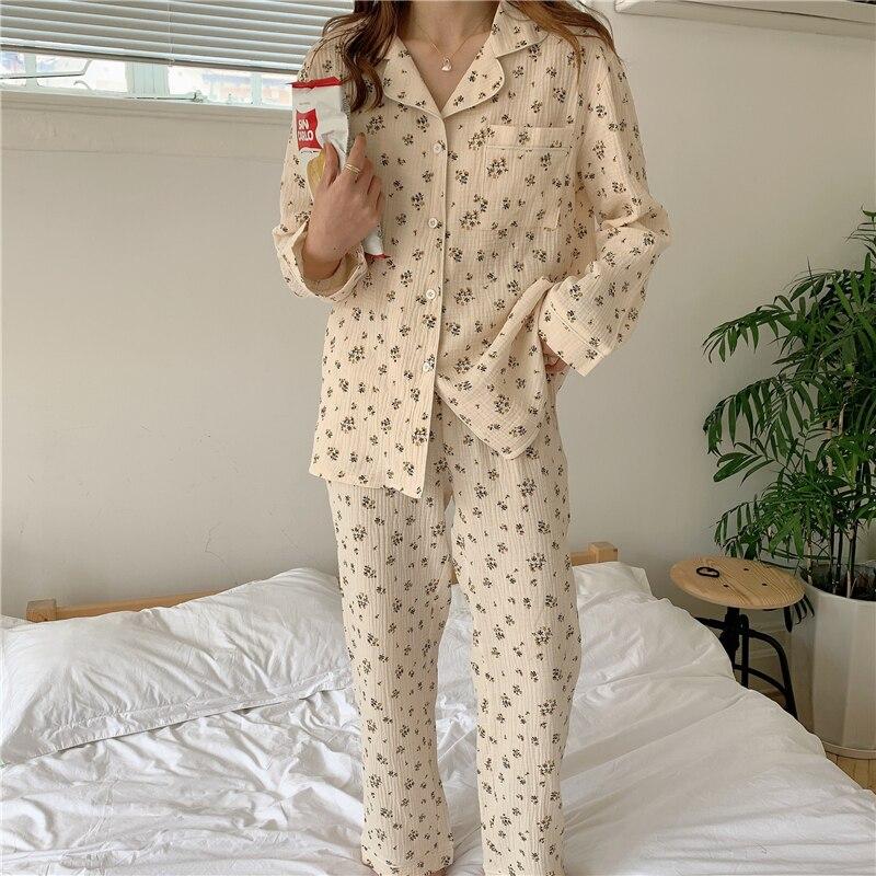 Белый пижамный комплект в горошек, кружевной женский домашний костюм, штаны, пижамы с карманами, рубашки с длинными рукавами, одежда для отдыха, комплект из 2 предметов, одежда для сна, Y104 Комплекты пижам      АлиЭкспресс