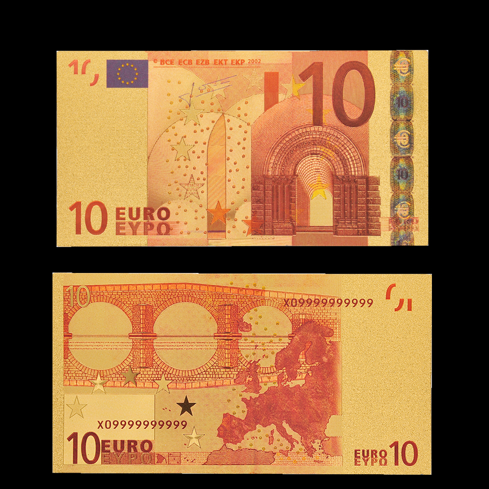 Banknotes Paper Money Collecting Euro 10 Color Gold Banknote Bill Copy Real Money Collection