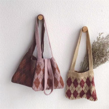 Зимняя вязаная сумка для маленьких девочек; милая детская Корейская сумка; все аксессуары; дешевая вязаная сумка с цветочным принтом и стразами