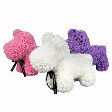 40 см розовая собака многоцветная пена плюшевый мишка Роза девушка день Святого Валентина подарок Вечеринка по случаю Дня рождения украшение искусственные цветы