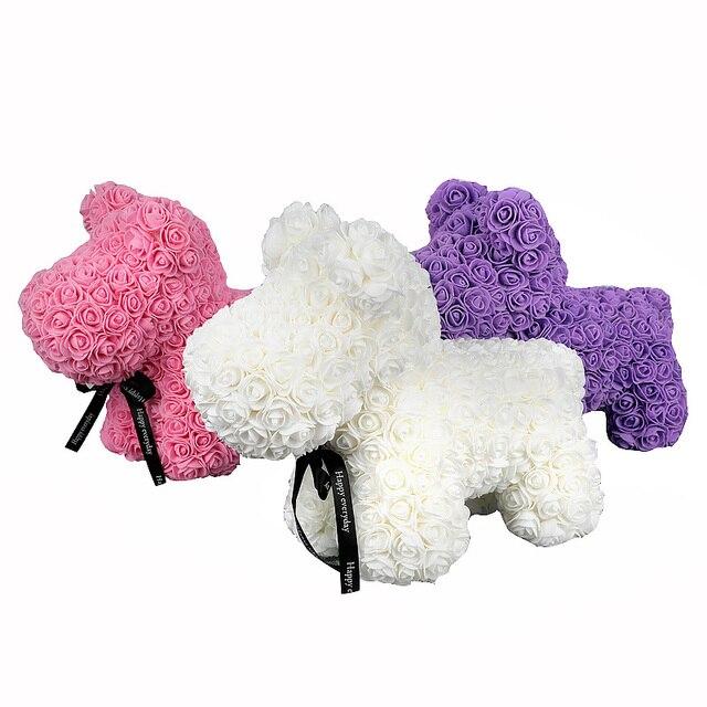 40cm Rose Hond Multicolor Foam Teddybeer Rose Vriendin Valentijnsdag Verjaardagscadeau Partij Decoratie Kunstmatige Bloemen