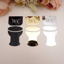 Acrylic Mirror Wall Sticker Toilet Door Sign / WC Plaque Decorative Mirrors 3D Stickers Home Indicator Decoration