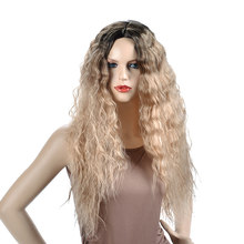 Alizing ombre black blonde synthetic hair wig long water wavy kinky curly high temperature fiber woman cosplay 9450
