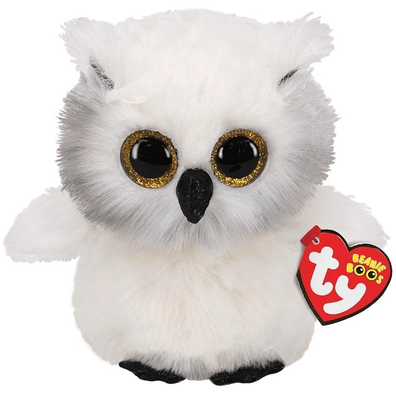 15CM Ty Beanie grandes ojos brillantes Austin brillante blanco y negro cara búho Animal de peluche suave regalo de cumpleaños de la muñeca de peluche de juguete para chico