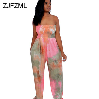 Plus Size Tie Dye Print Sexy Beach Jumpsuit Women Off The Shoulder Sleeveless Bodysuit Summer Ruched Open Back Wide Leg Overalls plus open shoulder sweatshirt