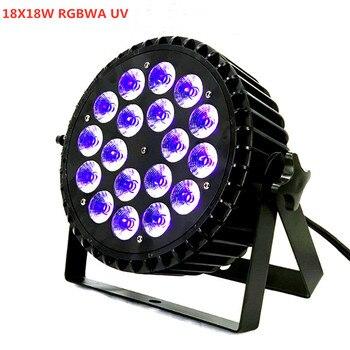 Led lampa par 4in1 5in1 18x18W RGBWA UV 6in1 mycia led światła reflektor LED Flat Par może oświetlenie sceniczne z cichy wentylator 18x12w RGBW