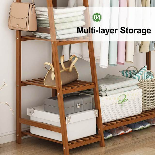Bamboo Clothes Coat Rack w/ Storage  5
