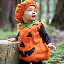 2-5T Childrens Pumpkin Halloween Costume Clothing Kids Baby Cute Round Neck Sleeveless Garments and Hat Set